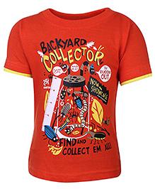Babyhug Half Sleeves T-Shirt Orange - Backyard Collector Print