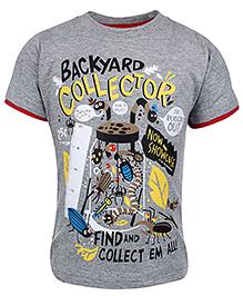 Babyhug Half Sleeves T-Shirt Melange - Backyard Collector Print