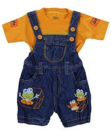 Babyhug Denim Dungaree With Half Sleeves T-Shirt - Blue And Yellow