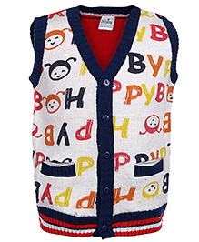 Babyhug Sleeveless Front Open Sweater - Alphabets