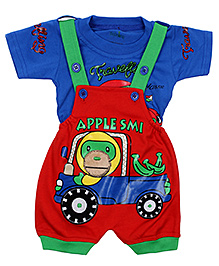 Babyhug Dungaree With Half Sleeves T-Shirt Apple Monkey Print - Blue And Red