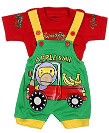Babyhug Dungaree With Half Sleeves T-Shirt Apple Monkey Print - Red And Green