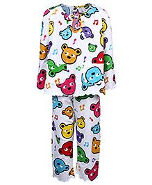 Teddy Full Sleeves Night Suit - Teddy Faces Print