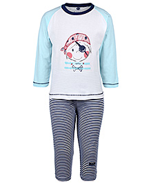 Teddy Full Sleeves T-Shirt And Legging - White And Blue