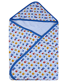 Babyhug Printed Hooded Wrapper - Blue