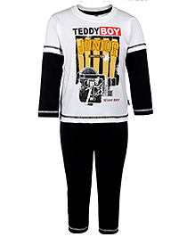 Teddy Doctor Sleeves T-Shirt And Legging - White And Black