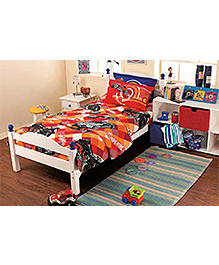 Hotwheels Double Bed Sheet Printed - Red
