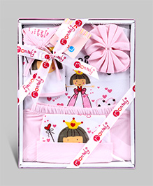 Montaly Baby Gift Set White And Pink - Set of 5