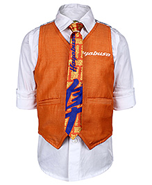 Tippy Roll Up Sleeves Shirt And Waistcoat With Tie - Orange And White