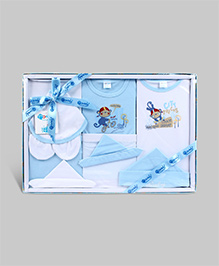 Montaly Printed Baby Gift Set Blue - Set of 10