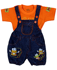 Babyhug Denim Dungaree With Half Sleeves T-Shirt - Blue And Orange