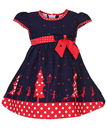Babyhug Short Sleeves Frock - Bow Applique