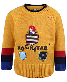 Babyhug Full Sleeves Sweater - Rockstar Print