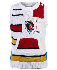 Babyhug Sleeveless Sweater - Little Captain Patch