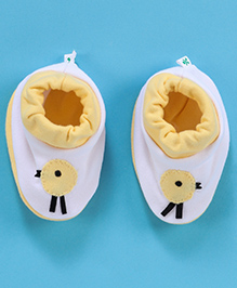 Child World Baby Booties - White And Yellow