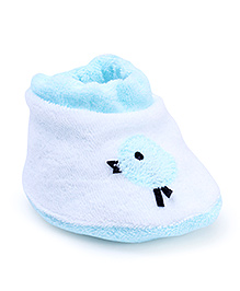 Child World Baby Booties - White And Aqua