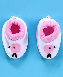 Child World Baby Booties - White And Pink