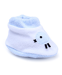 Child World Baby Booties - White And Sky Blue
