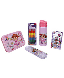 Nickelodeon -Dora the Exploer (Pink) School kit-1 Linch box/1 Sipper bottle/1 Pencil case/1 Crayons/1 Topper pencil(set of5)