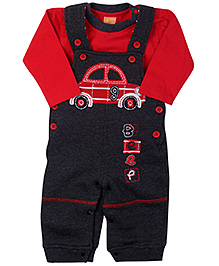 Little Kangaroos Dungaree Style Romper With T-Shirt And Sweatshirt - Red