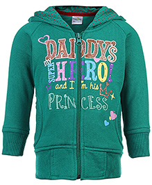 Babyhug Hooded Sweat Jacket Printed - Green