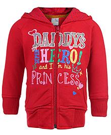 Babyhug Hooded Sweat Jacket Printed - Red