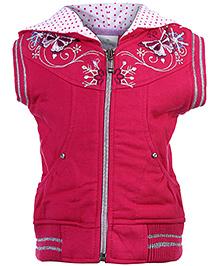 Babyhug Sleeveless Hooded Sweat Jacket - Embroidery Work