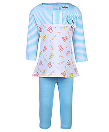 Babyhug Full Sleeves Frock And Legging Set - Bow Applique