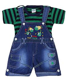 Babyhug Dungaree With Half Sleeves T-Shirt - Green