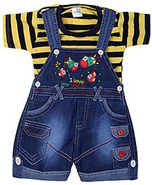 Babyhug Dungaree With Half Sleeves T-Shirt - Yellow
