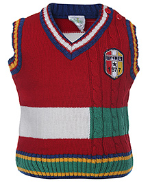 Babyhug Sleeveless Sweater Red - Italia Patch