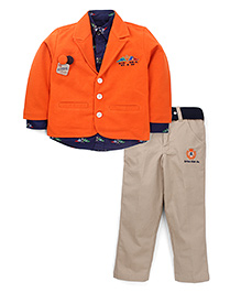 Active Kids Wear Shirt And Trouser With Blazer Racing Flags Print - Orange
