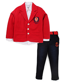 Active Kids Wear Shirt And Jeans With Blazer Brand Design - Red And Blue