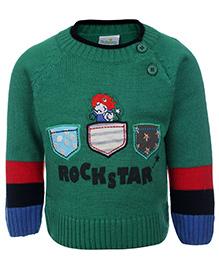 Babyhug Full Sleeves Sweater Green - Rockstar Print