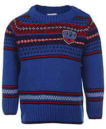 Babyhug Full Sleeves Sweater SPK Patch - Blue