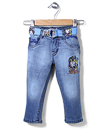 Ed Hardy Full Length Jeans With Belt - Raw Blue