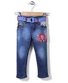 Ed Hardy Full Length Jeans With Belt - Blue