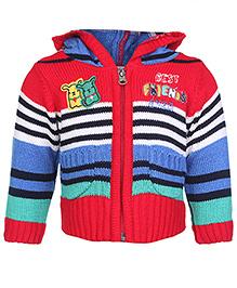 Babyhug Zippered Sweater - Stripes Pattern