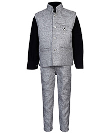 Active Kids Wear Shirt Jacket And Trouser Set - Black And Grey
