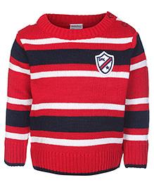 Babyhug Full Sleeves Sweater Red - Stripes Pattern