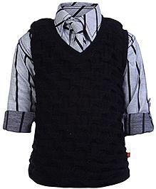 Little Kangaroos Turn Up Sleeves Shirt Tie And Sleeveless Sweater