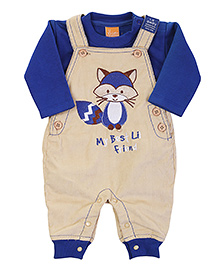 Little Kangaroos Dungaree Style Romper With T-Shirt - Embroidered