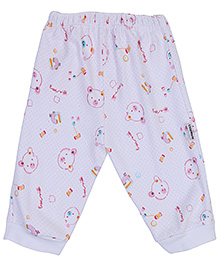 Child World Leggings White - Teddy Print