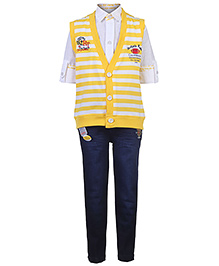 Active Kids Wear Shirt Jeans With Jacket - Stripes - 1 Year