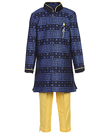 Active Kids Wear Kurta And Pajama Abstract Print - Blue And Yellow - 3 Months