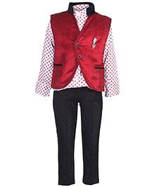 Active Kids Wear Shirt Trouser With Waistcoat - Brooch Design