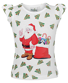Babyhug Short Sleeves Top White - Santa Print