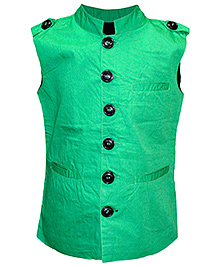 Cool Quotient Poplin Nehru Jacket - Green