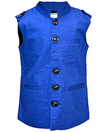 Cool Quotient Poplin Nehru Jacket - Royal Blue