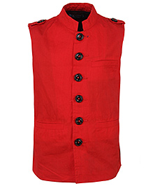 Cool Quotient Poplin Nehru Jacket - Red